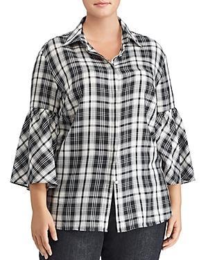 Lauren Ralph Lauren Plus Plaid Bell Sleeve Top
