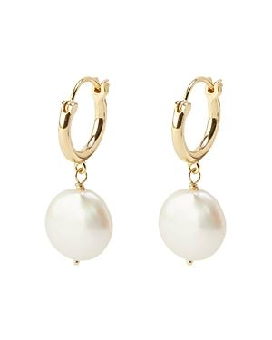Gorjana Reese 18k Gold-plated Cultured Pearl Coin Huggie Hoop Earrings