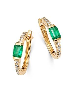Bloomingdale's Emerald & Diamond Huggie Hoop Earrings In 14k Yellow Gold - 100% Exclusive