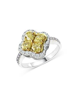 Bloomingdale's Yellow & White Diamond Clover Ring In 14k White Gold, 1.50 Ct. T.w. - 100% Exclusive