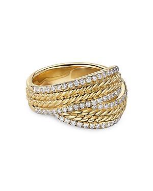 David Yurman 18k Yellow Gold Dy Origami Ring With Diamonds