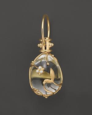 Temple St. Clair Crystal And Diamond Vine Pendant Set In 18k Yellow Gold