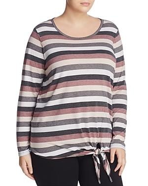 Andrew Marc Performance Plus Stripe Tie-waist Top