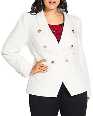 City Chic Plus Double-breasted Blazer