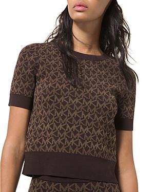 Michael Michael Kors Jacquard Short Sleeve Sweater