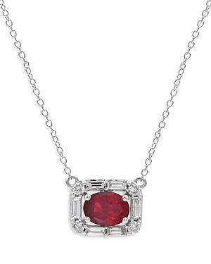 Bloomingdale's Igi Certified Ruby & Certified Diamond Pendant Necklace In 14k White Gold, 18 - 100% Exclusive