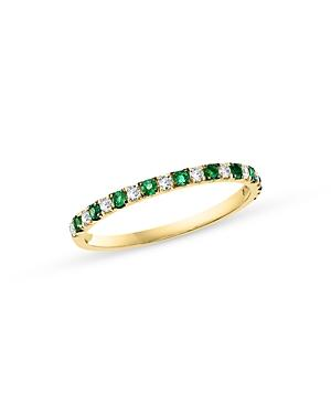 Bloomingdale's Emerald & Diamond Stacking Ring In 14k Yellow Gold - 100% Exclusive