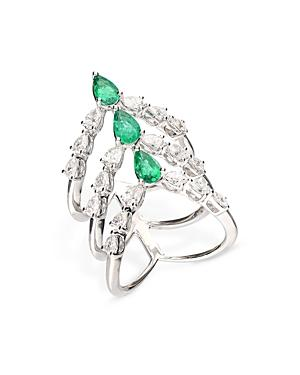 Bloomingdale's Emerald & Diamond Cage Ring In 18k White Gold - 100% Exclusive