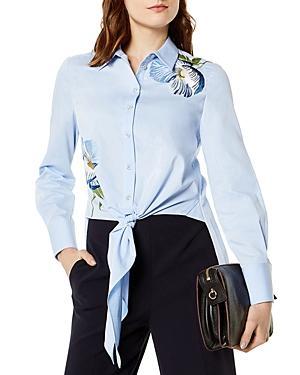 Karen Millen Embroidered Tie-front Shirt