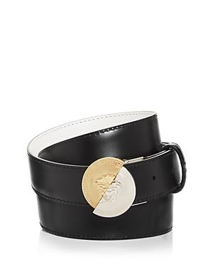 Versace Men's Round Medusa Buckle Reversible Leather Belt