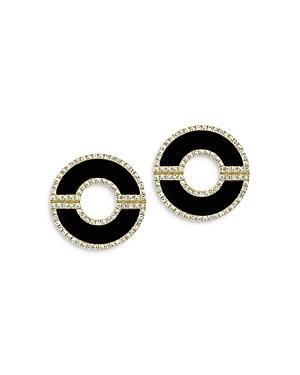 Bloomingdale's Onyx & Diamond Circle Earrings In 14k Yellow Gold - 100% Exclusive