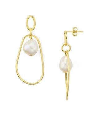 Argento Vivo Cultured Freshwater Pearl Dangle Earrings In 18k Gold-plated Sterling Silver