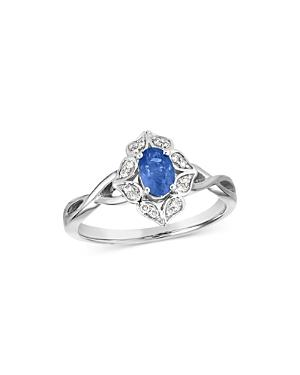 Bloomingdale's Sapphire & Diamond Art Deco Ring In 14k White Gold - 100% Exclusive
