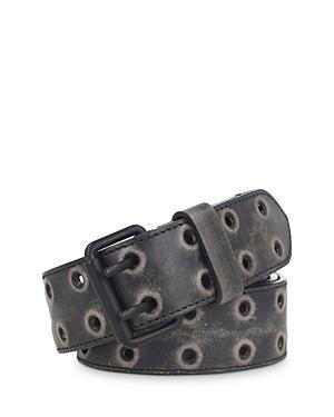 Allsaints Men's Double Rivet Allover Grommet Leather Belt