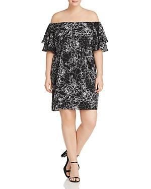 City Chic Plus Floral Flutter-sleeve Dress