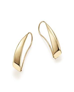 14k Yellow Gold Graduated Swoop Drop Earrings