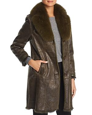 Maximilian Furs Rabbit Fur-lined Coat With Fox Fur Collar