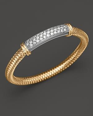 Roberto Coin 18k Yellow Gold Primavera Mesh Bangle With White Gold And Diamond Bar, 1.35 Ct. T.w.