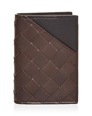 Bottega Veneta Woven Leather Bi Fold Card Case