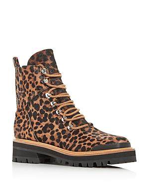 Marc Fisher Ltd. Women's Izziely Leopard-print Calf Hair Combat Boots
