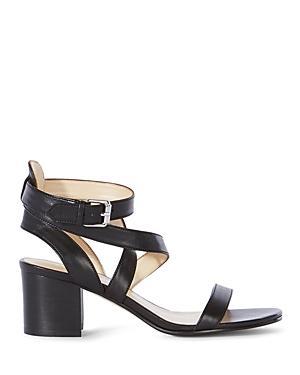 Karen Millen Leather Ankle Strap Block Heel Sandals