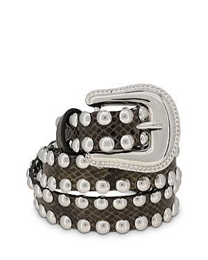 The Kooples Women's Croc-embossed Studded Leather Belt
