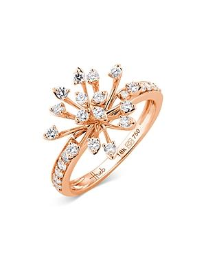 Hueb 18k Rose Gold Luminus Diamond Starburst Statement Ring
