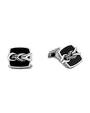 John Hardy Sterling Silver Classic Chain Asli Black Onyx Textured Cufflinks