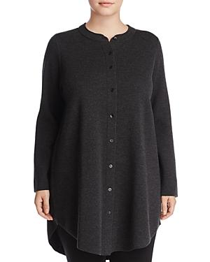Eileen Fisher Plus Mandarin Collar Merino Wool Cardigan
