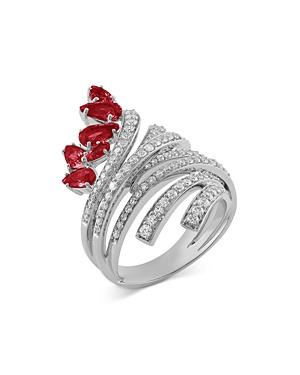 Hueb 18k White Gold Mirage Ruby & Diamond Swirl Statement Ring