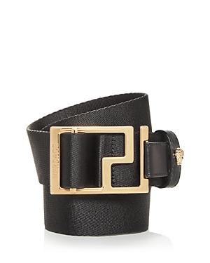 Versace Men's Geometric Buckle Webbing Belt