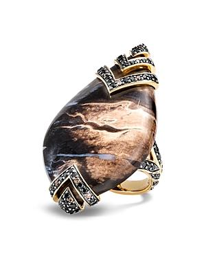 John Hardy 18k Yellow Gold Cinta Collection One-of-a-kind Palm Petrified Wood, Pave Brown Diamond & Treated Black Diamond Modern Chain Ring - 100% Exclusive