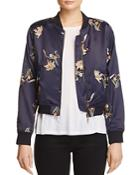 Aqua Embroidered Floral Bomber Jacket - 100% Exclusive