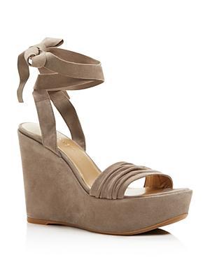 Stuart Weitzman Swifty Ankle Wrap Platform Wedge Sandals