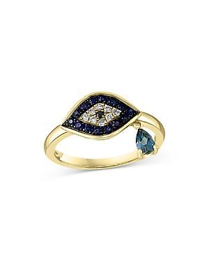 Bloomingdale's Multi Gemstone & Diamond Evil Eye Ring In 14k Yellow Gold - 100% Exclusive