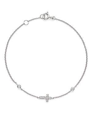 Diamond Cross Bracelet In 14k White Gold, .12 Ct. T.w.