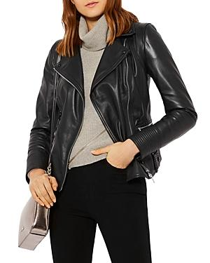 Karen Millen Topstitched Leather Biker Jacket