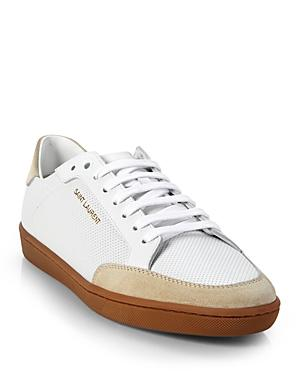 Saint Laurent Women's Court Classic Perforated Low Top Sneakers