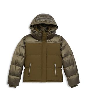 The Kooples Hooded Mixed Media Puffer Coat