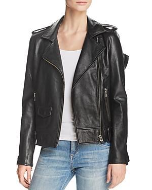 Aqua Ruffled Leather Moto Jacket - 100% Exclusive