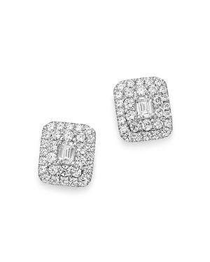 Bloomingdale's Diamond Halo Rectangle Earrings In 14k White Gold, 1.0 Ct. T.w. - 100% Exclusive