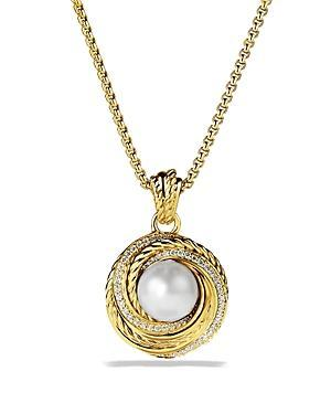 David Yurman Pearl Crossover Pendant With Diamonds In Gold On Chain