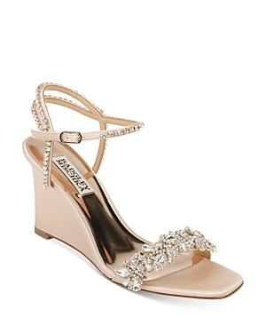 Badgley Mischka Women's Jenna Embellished Strappy Wedge Sandals
