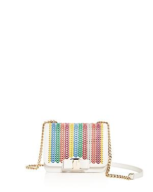 Salvatore Ferragamo Vara Woven Rainbow Leather Shoulder Bag