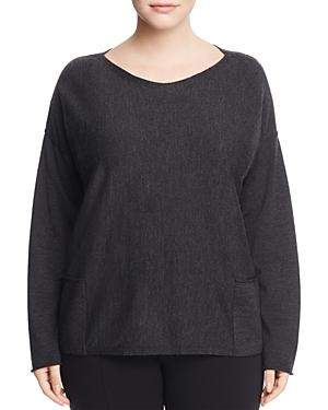 Eileen Fisher Plus Drop Shoulder Pocket Wool Sweater