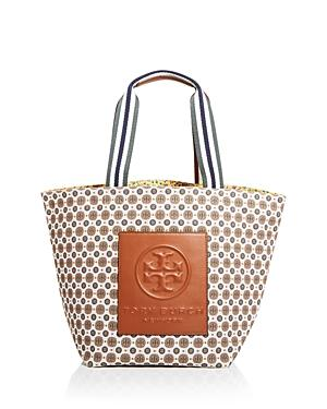 Tory Burch Gracie Mixed Print Canvas Tote