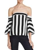 Milly Off-the-shoulder Striped Rosa Top