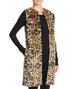 Alice And Olivia Jade Faux Fur Leopard Vest