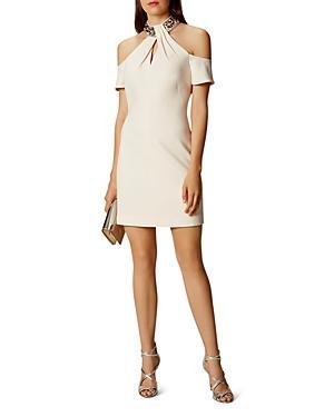 Karen Millen Crystal-and-beaded Collar Cold-shoulder Dress