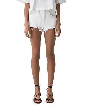 Agolde Parker Cutoff Denim Shorts In Gleam